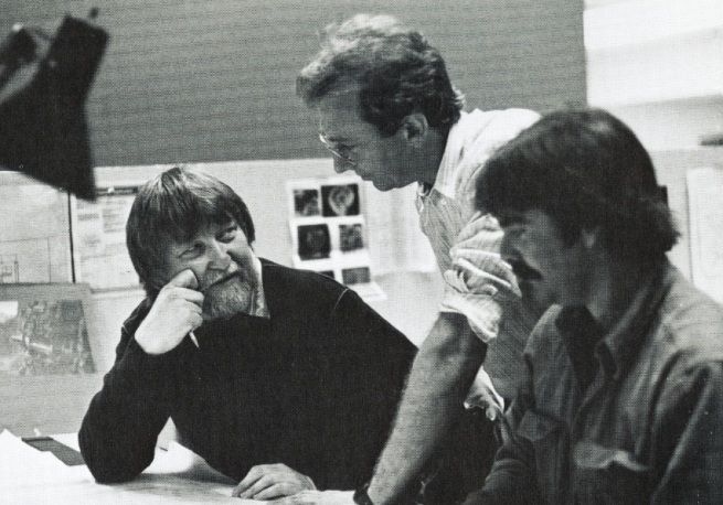 Ron Cobb with John Whitney Jr. and Kevin Rafferty, working together on The Last Star Fighter