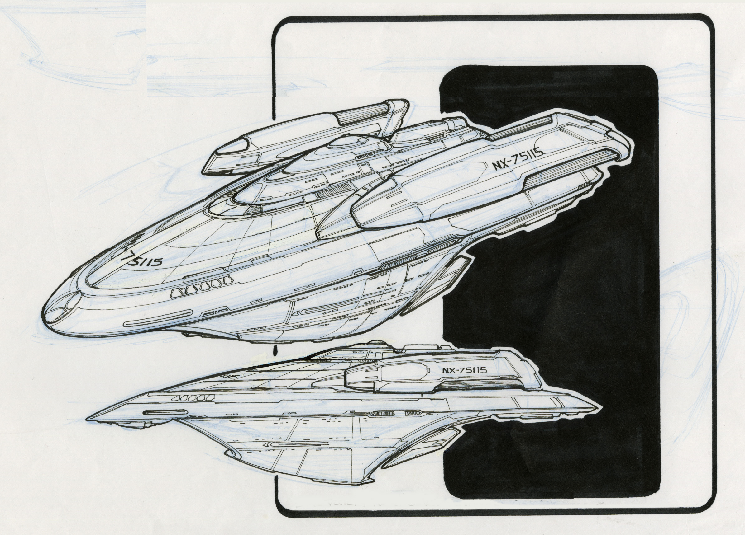 Insurrection holoship designs used and not re for Wohnung star trek design