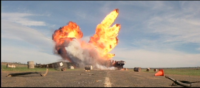 A Miller trademark, Exploding oil drums.