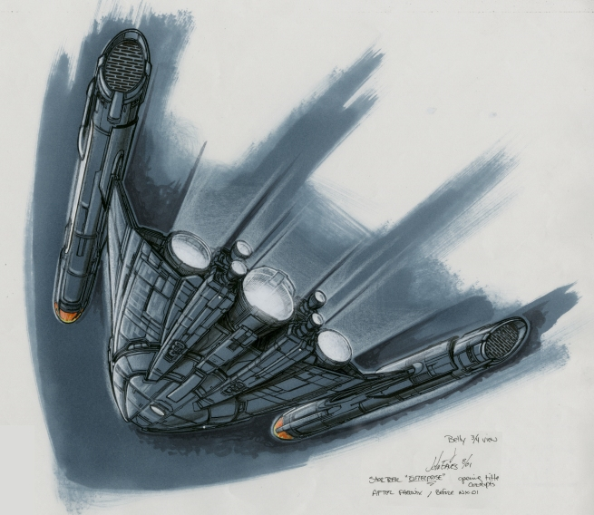 this was the ship that proceeds the NX-01, The detail on the bottom of the ship is designed to match the layout roughly of the top of Doug's final NX-01 Star Ship