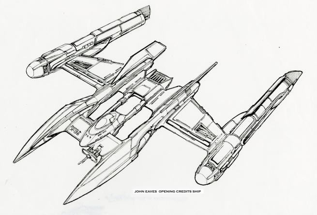 this ship became such a big push as the warp II ship from First Flight that I forgot it's origins began as an opening title concept, When I opened the file, there it was,,, HAAA! What an Old MAN