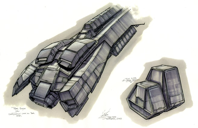 details for the cargo containers and engines of the hauler