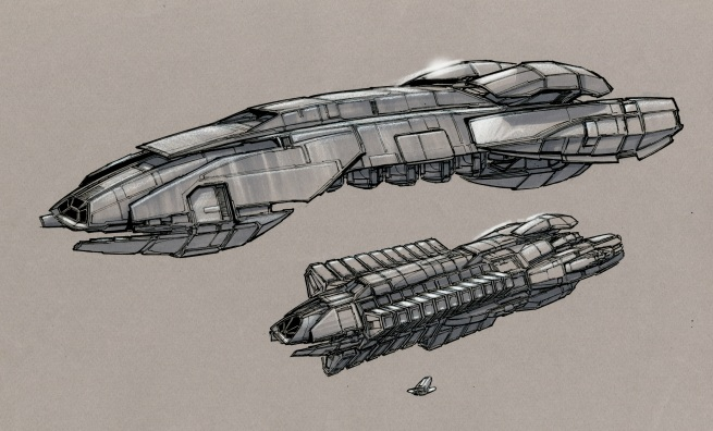 here are the two alien vessels from the episode. the smaller ship was the cargo hauler and the larger was the rescue ship