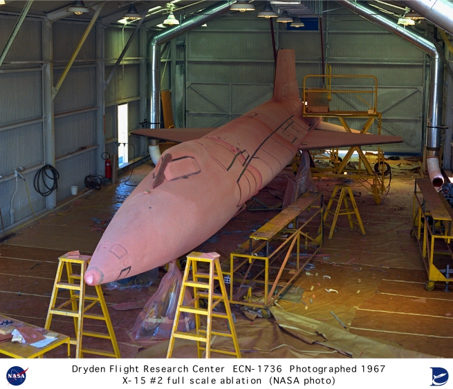 the X-15 being treated with the ablative coating