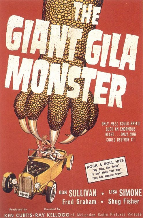 one of the few B-movie posters that did not have a lovely girl being taken away by the creature!