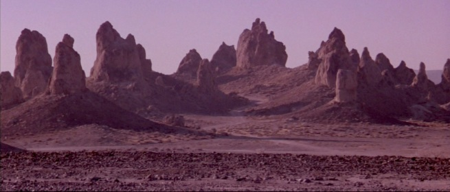 The (god) planet was the Trona pinicles North eat of Edwards AFB, also where Tim Burton's Planet of the Apes was shot
