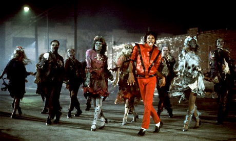 "creator of the moon walk and synchronized pop dancing Michael is seen her making the ""Thriller"" Video"