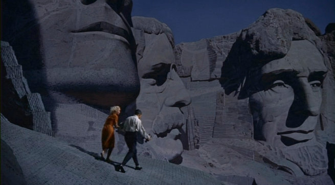 a brilliant use of a foreground set piece, matte paintings, and large backdrops