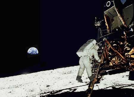 Neil Armstrong shoots a shot of Buzz