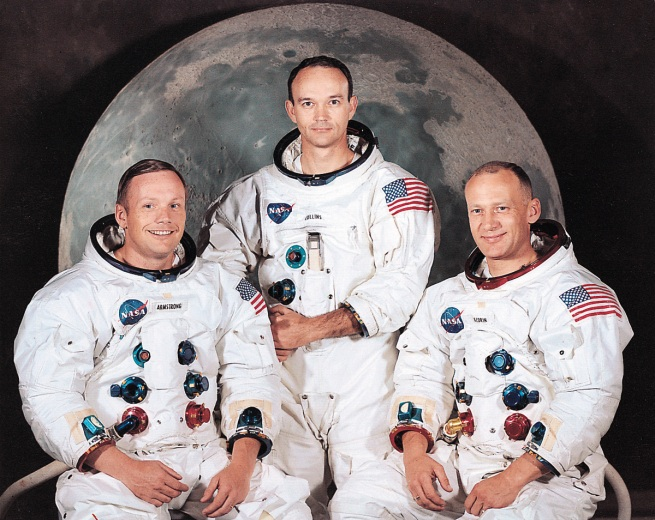 Neil Armstrong, Michael Collins and Buzz Aldren