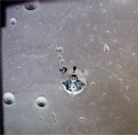 Michael Collin's orbits the moon in the command vehicle