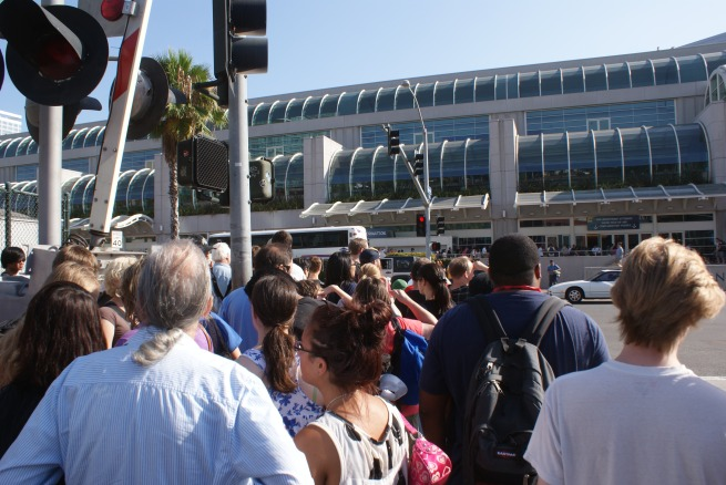 the crowd builds on approach to the convention center