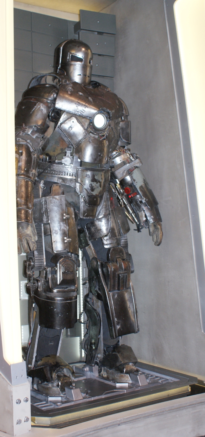 one of four, full size versions of the iron man suit