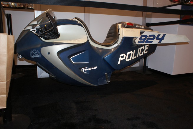 shoved in the corner of the Mattel booth was the full size actual movie prop of my Iowa State Police cycle from Star Trek,,, I couldn't find a way to sneak it out though!!!! ARGHHHH!