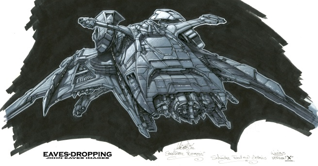detail of the front of the ship, CG artist Rory McClish over at Digital Domain designed the central hull cannon section and I drew in his designs onto this sketch .
