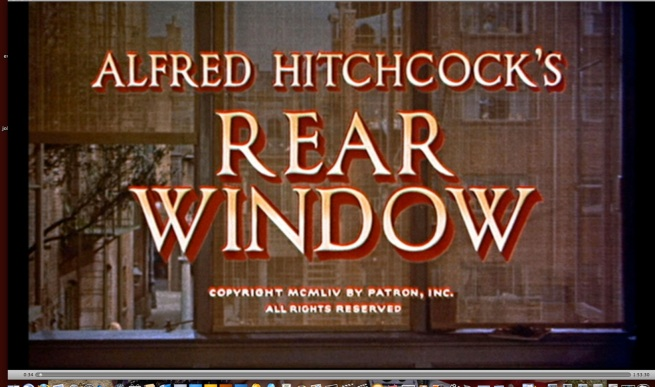 opening credits and the first view out of Jimmy Stewart's window