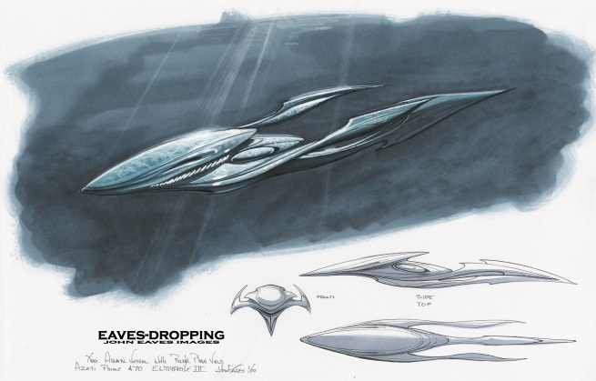 the first pass was of a filler ship used as a background vessel for the underwater bomb platform