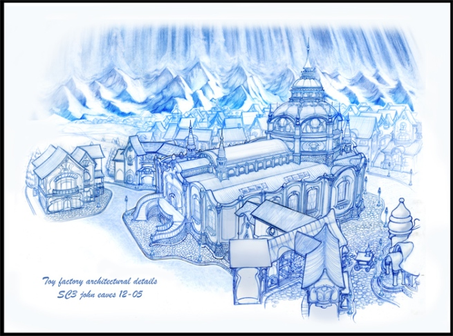 this was a big fun architectural rendering of Santa's Toy shop from santa Clause III