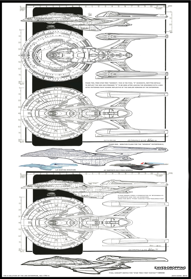 a montage of all the refits in scale to each other