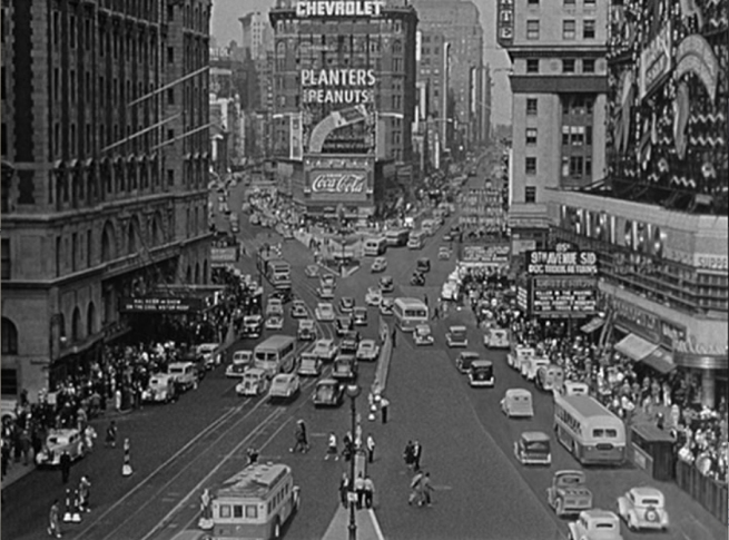awesome shots combining matte painting of still and inoperative cars and live action crowdsin New York,,,