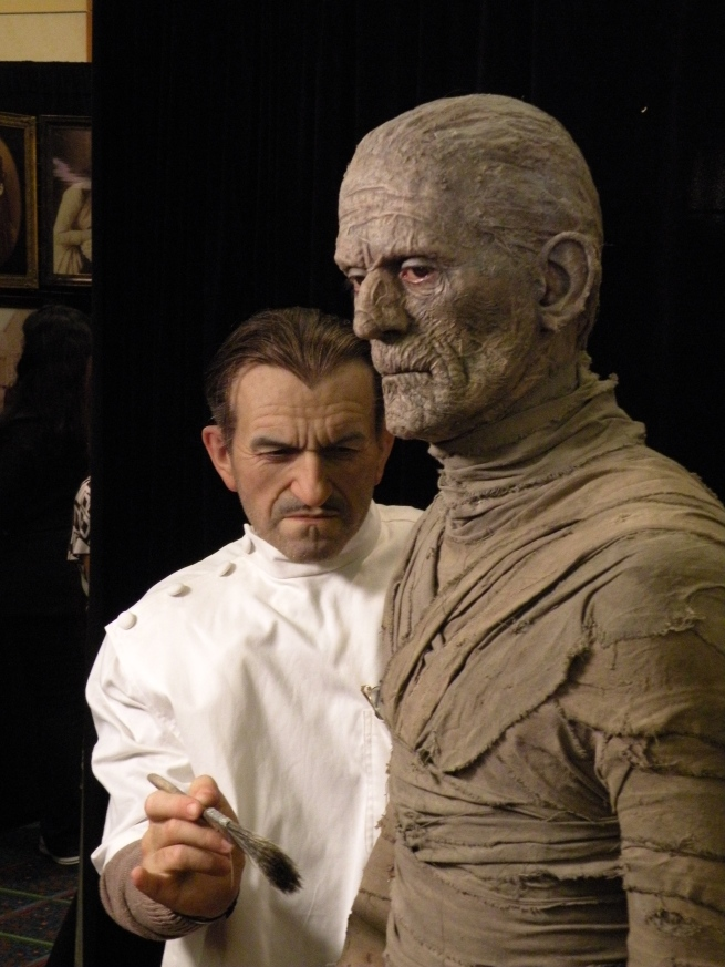 by the same artist another life sized sculpture of Jack Pierce applying mummy make up to Boris Karloff. Rick Baker's hands were cast and used for Pierce's hands.