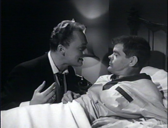Gorshin races home to tell his buddy Artie, (Lyn Osborne) about the UFO, Artie brushes him off and goes back to bed!