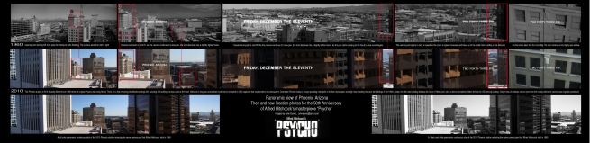 then and now panoramic compilation of the opening sequence of Psycho