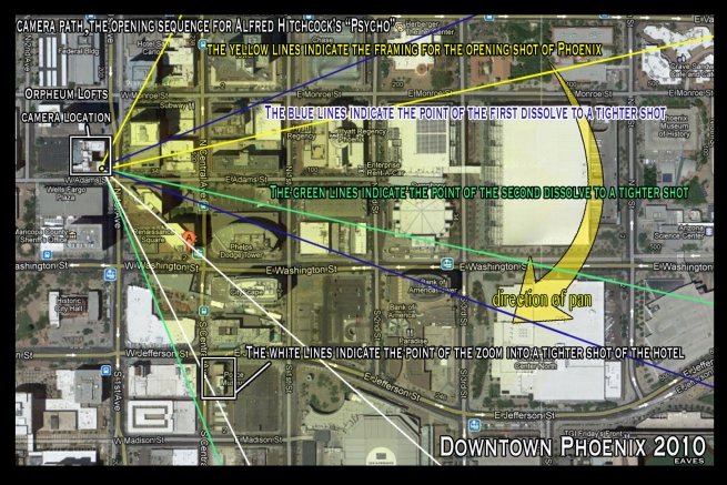 This 2010 map of Phoenix Arizona highlights the camera path of Hitcock's opening panoramic shot