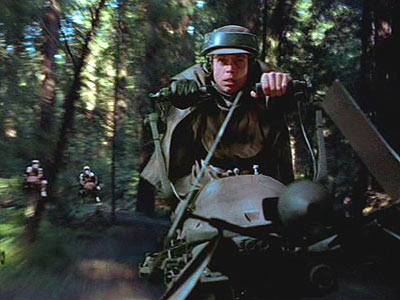 the speeder bike chase, The highlight of the film.